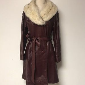 Vintage 1970's Burgundy Leather & Fur Coat